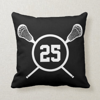 Lacrosse custom number pillow - black /white