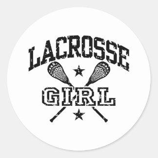 Lacrosse Girl Round Sticker