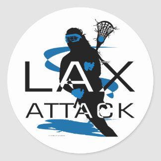Lacrosse Girls LAX Attack Blue Classic Round Sticker