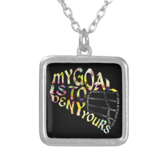 Lacrosse Goalie Pendant, Lax Quote Typography Silver Plated Necklace