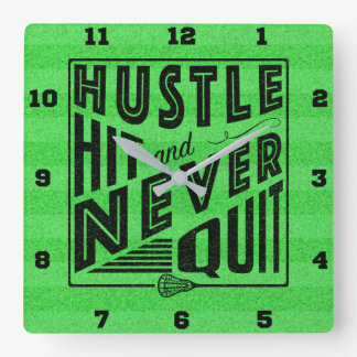Lacrosse Hustle Hit And Never Quit Square Wall Clock