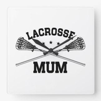 Lacrosse Mum Square Wall Clock