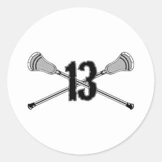 Lacrosse Number 13 Sticker