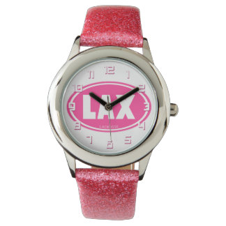 Lacrosse Pink LAX oval wrist watch