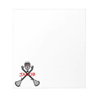 Lacrosse Player Cartoon Notepad