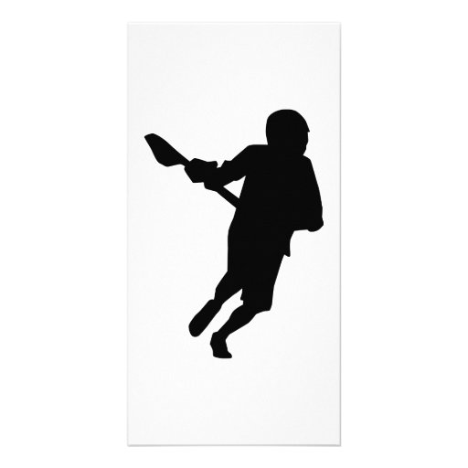 Lacrosse player sports customized photo card