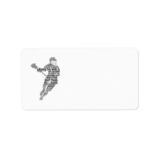 Lacrosse Player Typography Label
