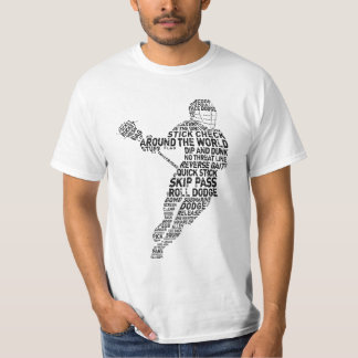 Lacrosse Player Typography Tee Shirt