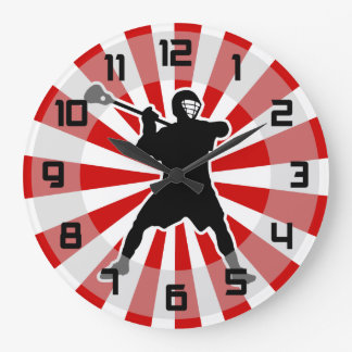 Lacrosse Player wall clock - red white black