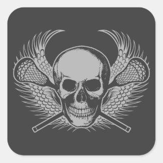 Lacrosse Skull - Gray Square Sticker