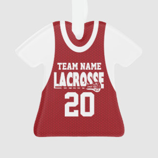 Lacrosse Sports Jersey Red with Photo Ornament