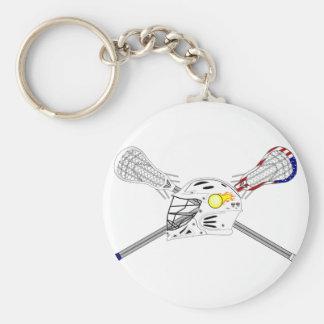 Lacrosse sticks with helmet keychain