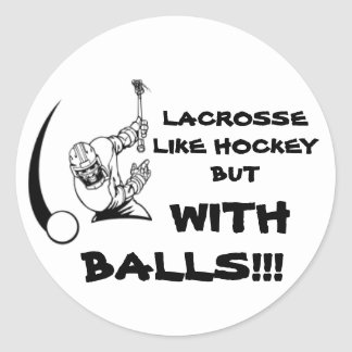 Lacrosse with Balls Classic Round Sticker