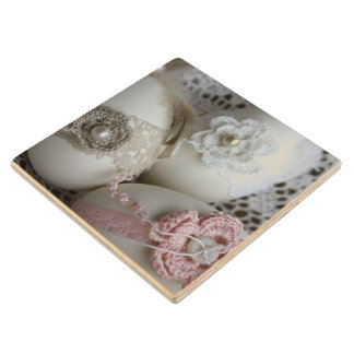 Lacy Easter Eggs Maple Wood Coaster