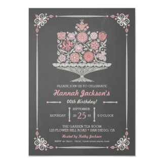 Lacy Flower Birthday Cake Chalkboard Invitation