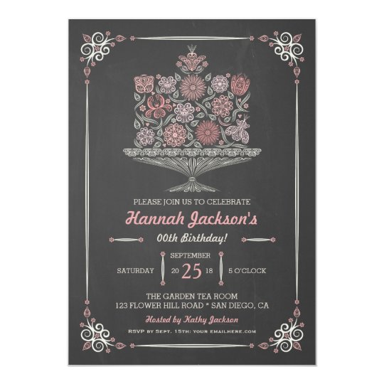 Lacy Flower Birthday Cake Chalkboard Invite 5x7