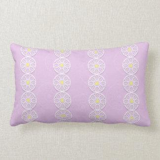Lacy Flower Pattern Reversable Pink Lumbar Pillow