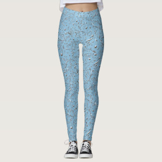 Lacy Ice Blue Music Notes Floral Pattern Leggings