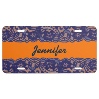Lacy Orange & Blue License Plate