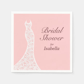 Lacy Pink Bridal Shower Napkin Disposable Napkins