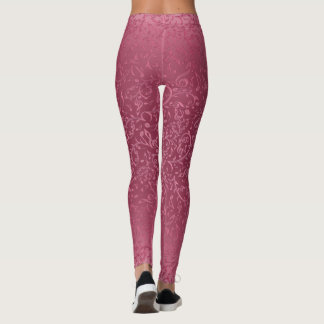 Lacy Pink Music Notes Floral Pattern Leggings