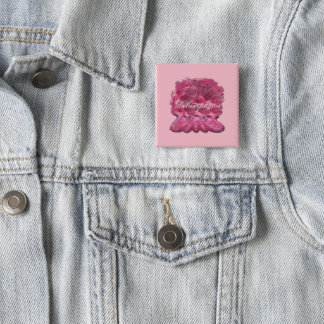 Lacy Pink Squid Personalize 2 Inch Square Button