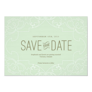 Lacy Save the Date Card // Mint/BlueGreen Invitations