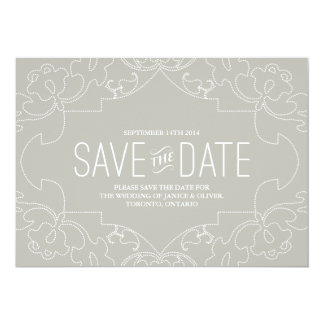 Lacy Save the Date // Grey 5x7 Paper Invitation Card
