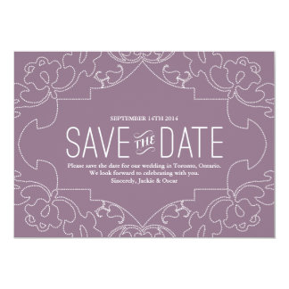 """Lacy Save the Date // Orchid or Violet 5"""" X 7"""" Invitation Card"""