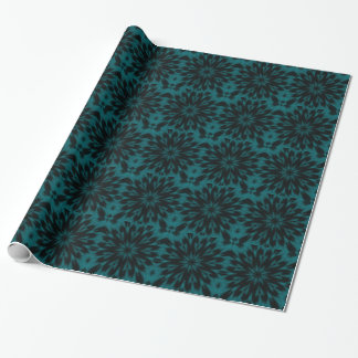 Lacy Spotted Leopard Turquoise Teal Kaleidoscope Wrapping Paper