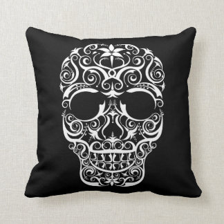 Lacy Stylized Skull Pillow