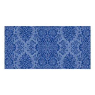 Lacy Vintage Floral in Medium Blue Personalized Photo Card
