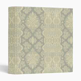 Lacy Vintage Floral Yellow and Gray 3 Ring Binders