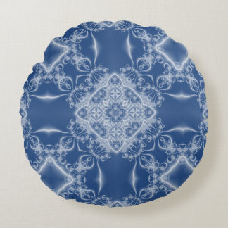 Lacy white and blue fractal pattern round pillow