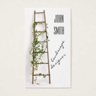 Ladder decorated with ivy twigs business card