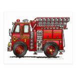 Ladder Fire Truck Firefighter Postcard