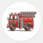 Ladder Fire Truck Firefighter Round Sticker