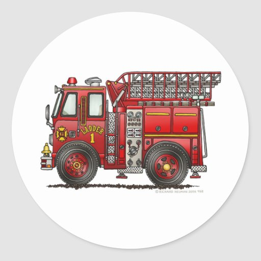 Ladder Fire Truck Firefighter Classic Round Sticker