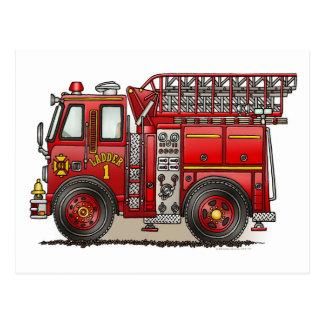 Ladder Fire Truck Postcard