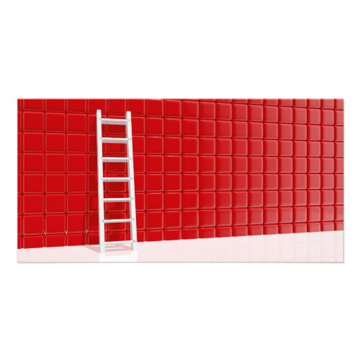 Ladder leaning against to wall picture card