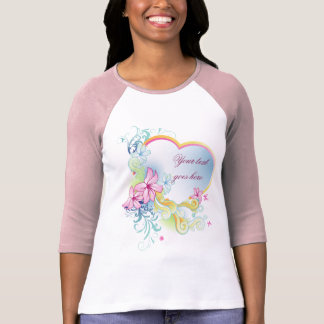 Ladies 3/4 Sleeve Raglan Vector Flowers And Heart T-Shirt