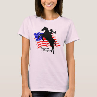 Ladies American Cowgirl Baby Doll T-Shirt