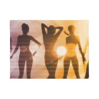 Ladies at the Beach with Silhouette Doormat