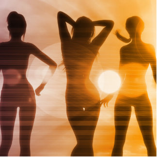 Ladies at the Beach with Silhouette Photo Sculpture Button