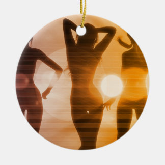 Ladies at the Beach with Silhouette Round Ceramic Ornament
