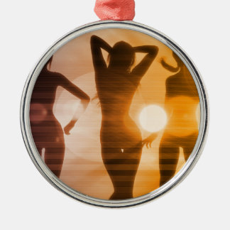 Ladies at the Beach with Silhouette Silver-Colored Round Ornament