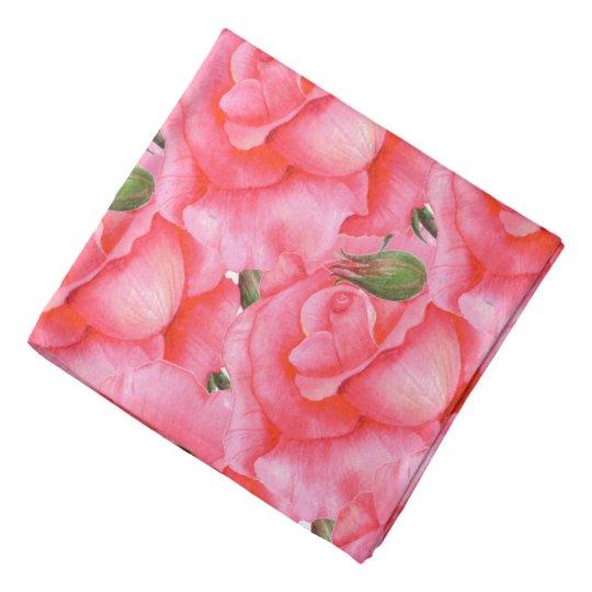 Ladies Bandana Pink Roses Floral Art