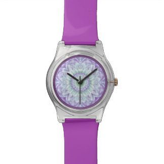 Ladies Beautiful Purple Abstract Medallion Watch