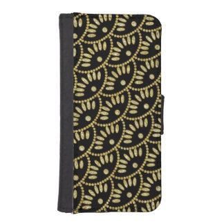 Ladies Black and Gold Bling Seigaiha Scallops iPhone SE/5/5s Wallet Case