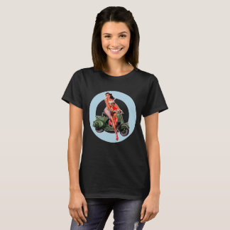 Ladies Black Scooter girl t-shirt ska mods